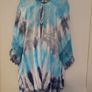 Cato Blue Tie Dyed Peasant Style Blouse